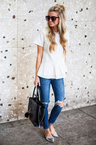 white peplum blouse with ripped jeans and metallic pointed flats
