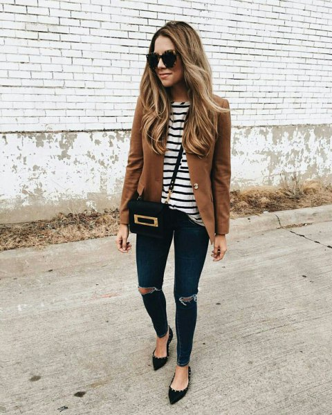 brown blazer with black and white striped tee and pointed flats