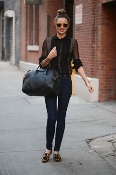 black blouse with dark gray fitted cardigan and leopard print