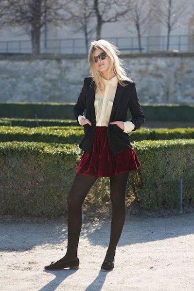 black blazer with burgundy mini skater skirt and velvet flats