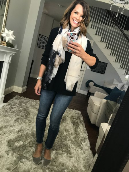 black button up shirt with white scarf and pink gold velvet flats