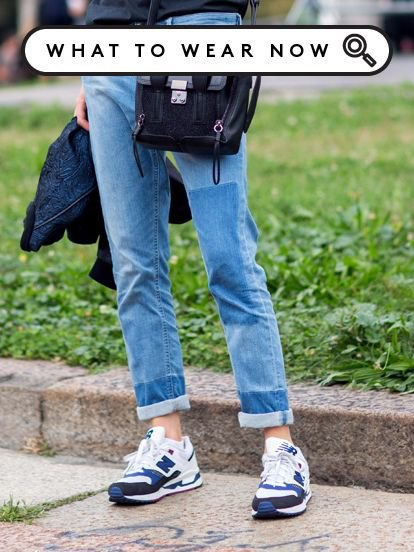 Slim Fit cuffed jeans and white and blue denim and plastic shoes