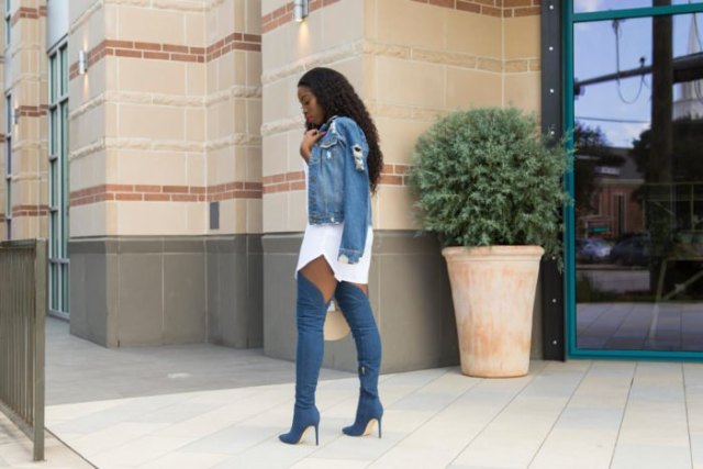 blue denim jacket with white mini-shirt dress and high-heeled denim thigh high boots