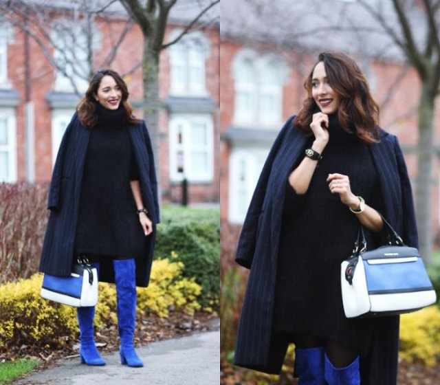 navy blue striped long-line blazer with royal blue suede high boots
