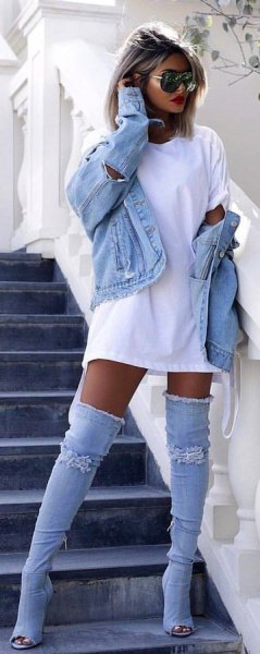 white t-shirt dress with denim jacket and matching boots