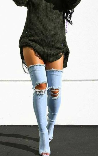 gray ribbed sweater dress with thigh high ripped denim boots
