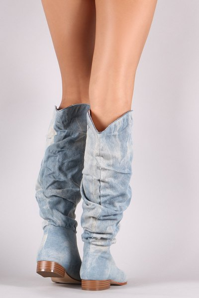 knee high boots in wide calf with mini-shorts
