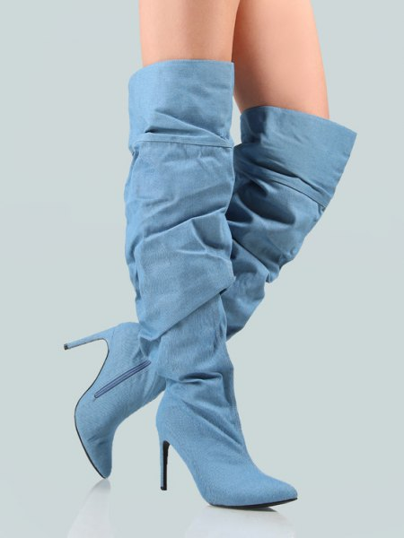 light blue heeled denim knee high boots with black mini shorts and white tee