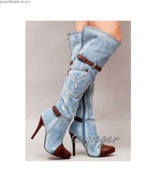 heeled washed denim knee high boots with mini dress