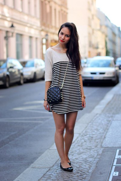 white and black horizontal striped half-heated mini-shift dress with ballet flats