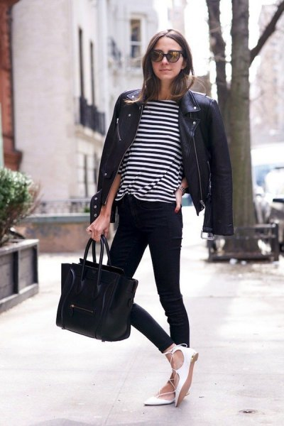 black white striped t-shirt with moto jacket and ballet flats