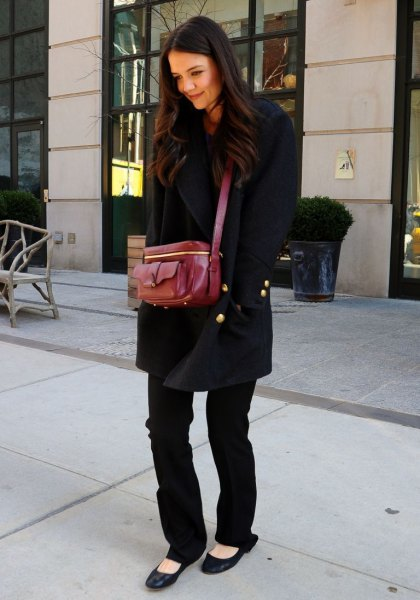 wool coat with straight jeans and black ballet flats