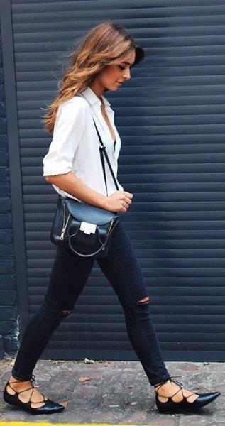 white button up shirt with ripped jeans and buttoned black ballet heels