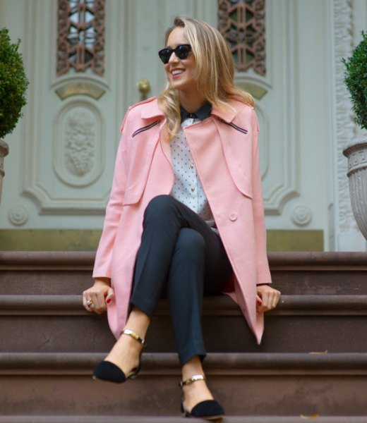 ivory blazer with polka dot blouse and black ballet ankle strap flats