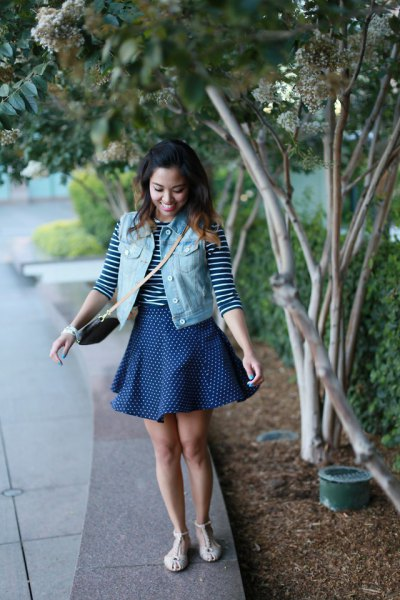 denim vest with navy blue and white striped tee and skater skirt