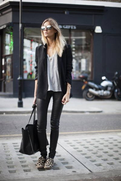 black wool blazer with waxed slim jeans