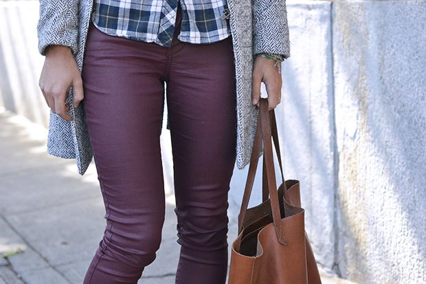 checkered shirt with long line tweed jacket and purple waxed skinny jeans