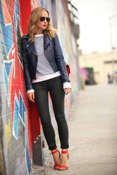 black leather jacket with striped long-sleeved tee and coated skinny cuffed jeans
