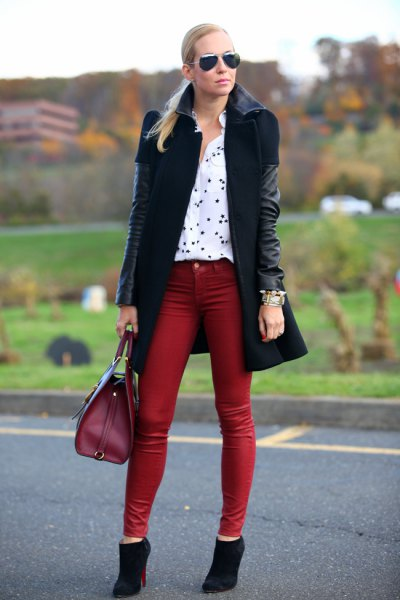 black leather long jacket with brown skinny ankle jeans