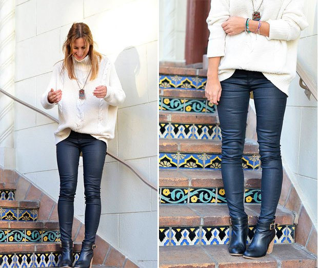 white chunky knitted sweater with deep purple waxed jeans