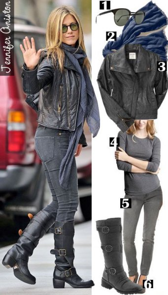 leather jacket with gray chiffon scarf and black knee high motorcycle boot jennifer aniston