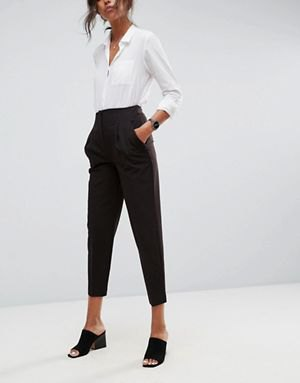 white button up shirt with black high resolution cropped chinos