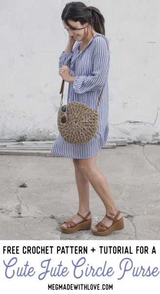 blue and white vertical striped mini shift dress with cute round straw bag of straw