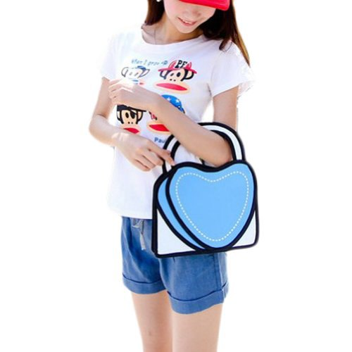 white print tee with heart shaped faux 2d cute handbags