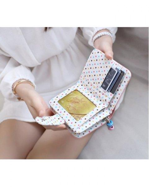 white and blue polka dot mini cute handbag with blouse and mini chiffon skirt