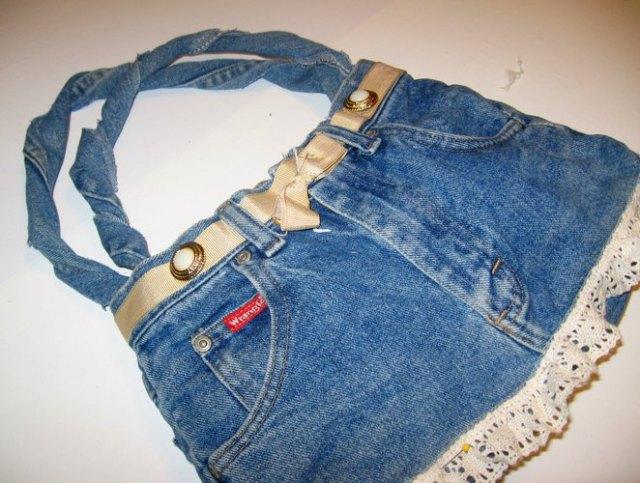 mini-denim shorts turned into cute fabric bag