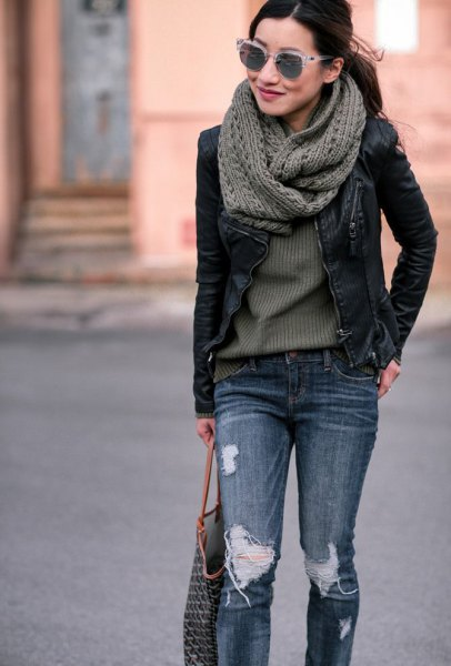 gray knitted scarf with black leather jacket