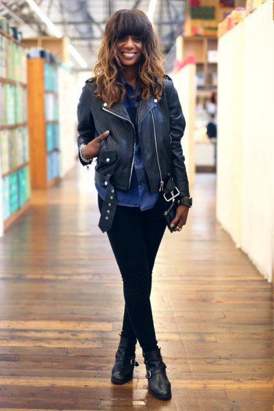 black leather jacket with chambray shirt and slim jeans
