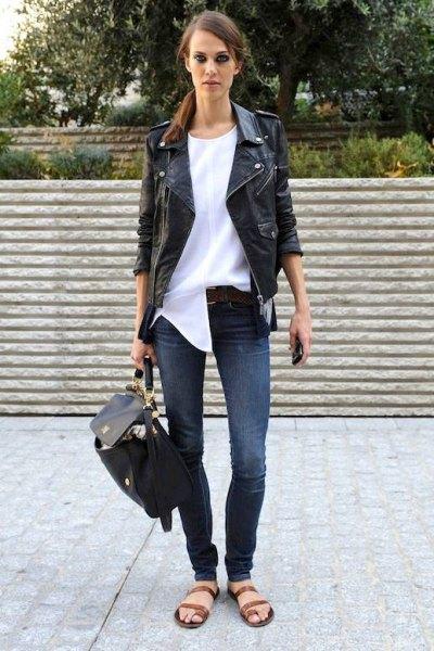 black leather jacket with white chiffon Tunic blouse
