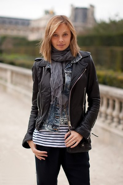 black leather jacket with gray chiffon shawl and striped tee