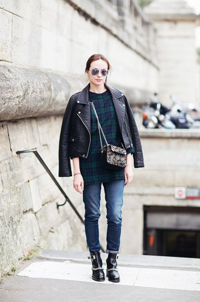leather bicycle jacket with navy and green checkered tunic top