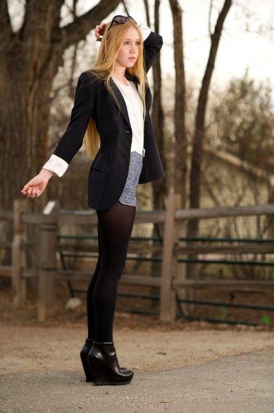 black long blazer with gray mini skirt and socks