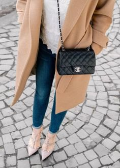 crepe long wool coat with black quilted small leather bag