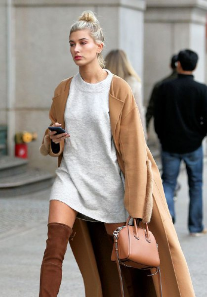 camel longline jacket with gray sweater dress and brown small handbag