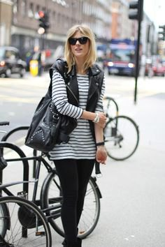 black and white striped long sleeve tunic with biker vest