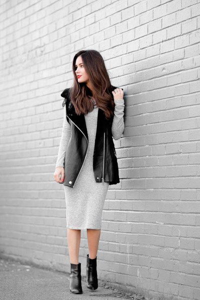 light gray midi dress with long sleeved cotton with long leather vest