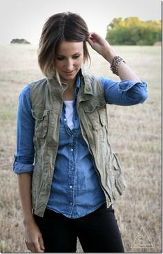 olive vest with chambray light blue shirt and dark jeans