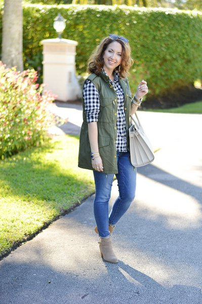 olive green tool vest with black and white checker boyfriend shirt