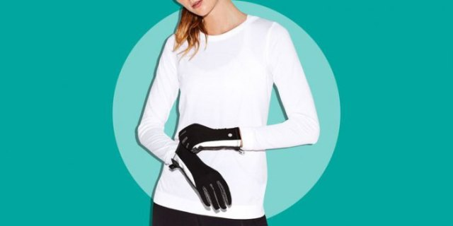 white long sleeve t-shirt with black running gloves and dark jogging tights