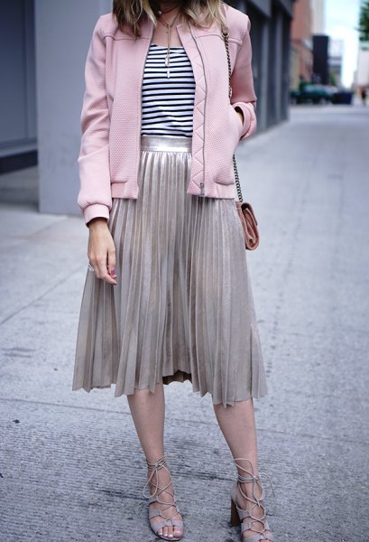 light gray pleated midi skirt and matching bomber jacket