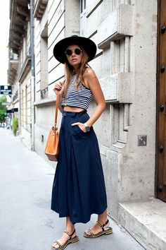 black and white striped cropped tank top with navy maxi blown skirt