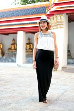 white stem printed top with black maxi skirt