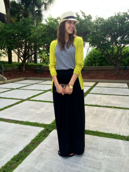 lemon yellow cardigan with black casual fit maxi travel skirt