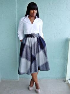 white button up shirt with gray plaid midi blown skirt with pockets