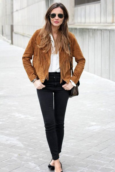 brown french suede blazer with black high skinny jeans
