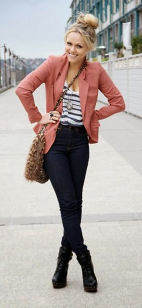 white and black striped bucket neck top with black jeans